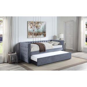 WESTFIELD Lit banquette gigogne chesterfield 2x90x190 en velours gris ISAURE - Westfield - Publicité