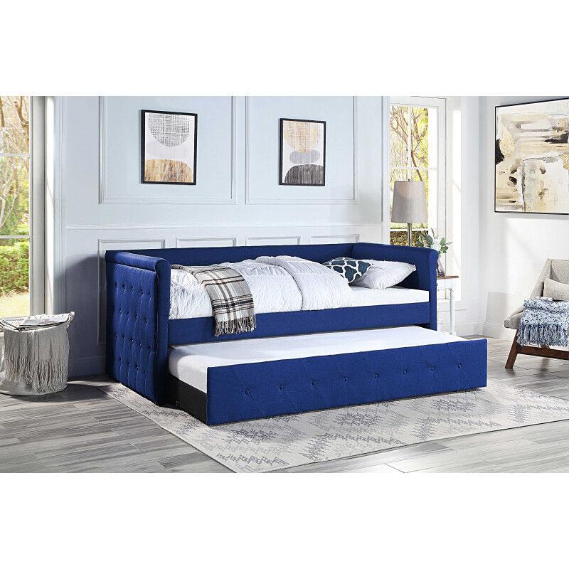 WESTFIELD Lit banquette gigogne chesterfield 2x90x190 en tissu bleu MÉLINE - Westfield