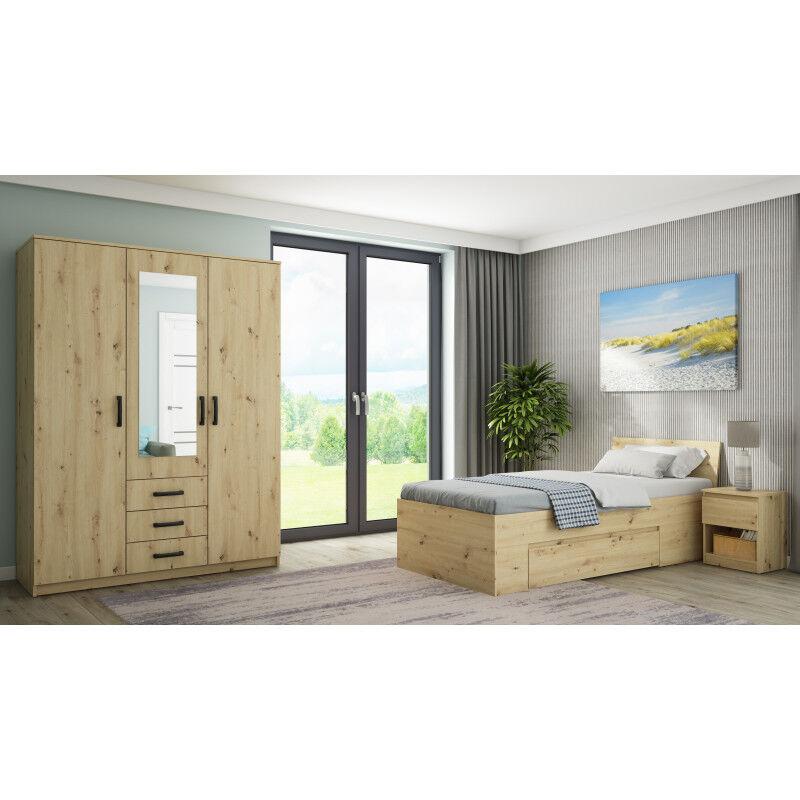 Linea deco Chambre à coucher complète avec armoire papier décor bois 90x200 CELIAN - Linea deco