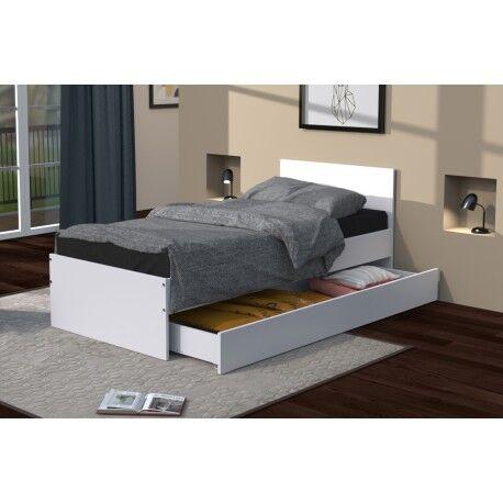 Linea deco Lit avec tiroir blanc 90x190 OSLO - Linea deco
