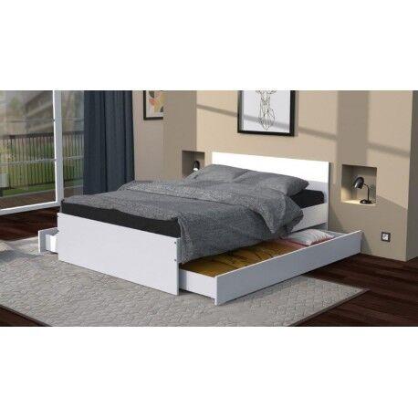 Linea deco Lit avec 2 tiroirs blanc 140x190 OSLO - Linea deco
