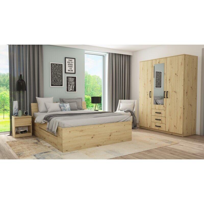 Linea deco Chambre à coucher complète avec armoire papier décor bois 160x200 CELIAN - Linea deco