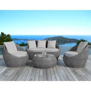 Delorm Salon de jardin en résine tressée ronde grise MALAGA - Delorm - Publicité