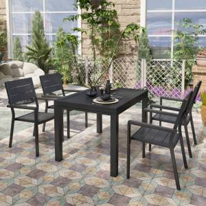 Lusso Fauteuil de jardin en aluminium et bois composite gris FINO Lot de 4 - Lusso - Publicité
