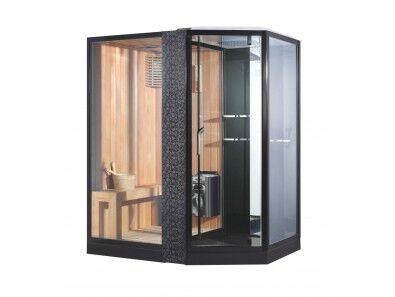 Uéva Design Sauna combiné douche design Droite NOIR - NOIRNoir
