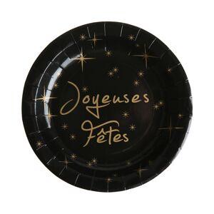 10 Assiettes Joyeuses Fêtes en carton - Noir - Publicité