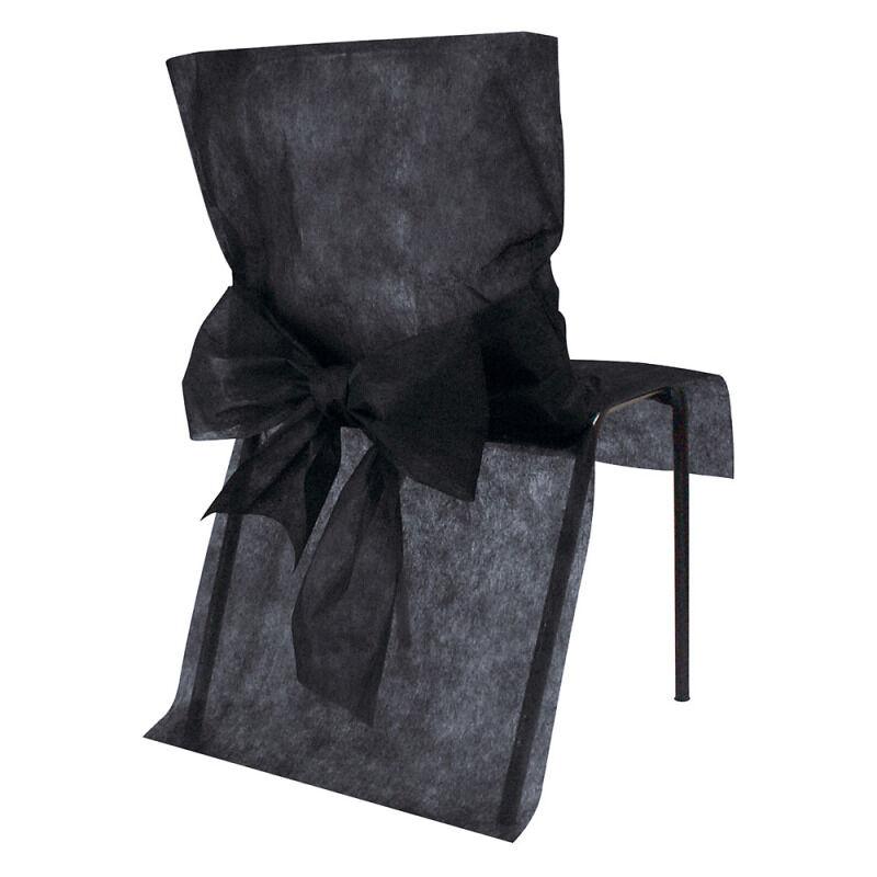 10 Housses de chaise avec noeud - Noir