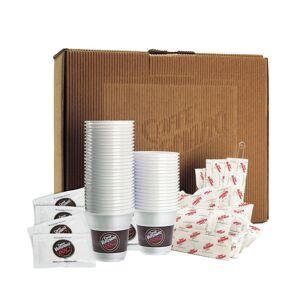 Caffe Vergnano Le Kit 100 Gobelets - 100 bûchettes de sucre - 100 spatules - Publicité
