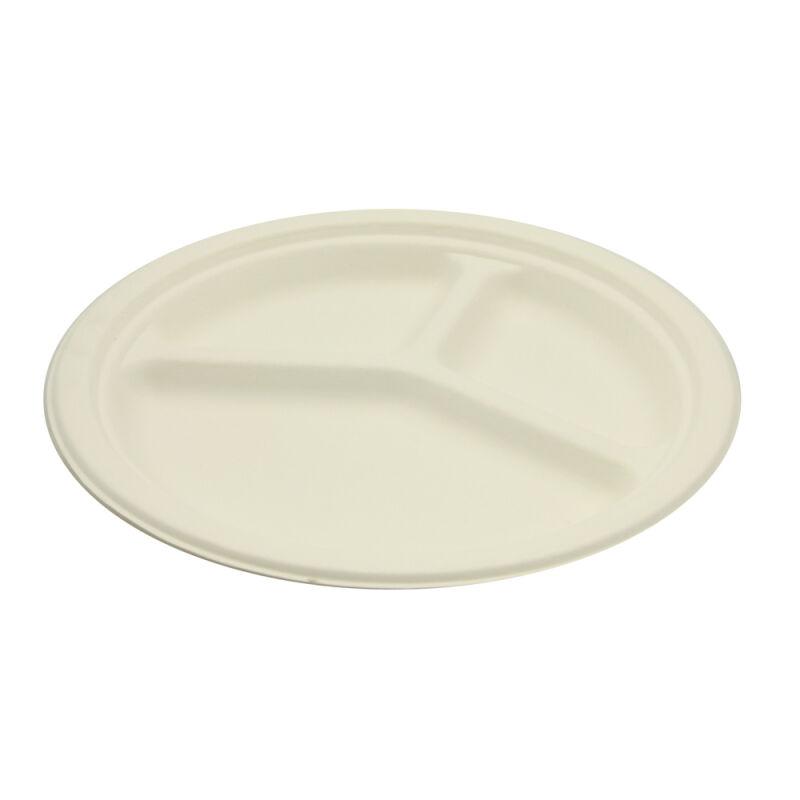Be Pulp 50 assiettes rondes à compartiments biodégradables 26 cm