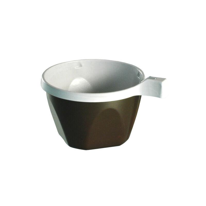 50 tasses à café en plastique marron/blanc avec anse 14 cl