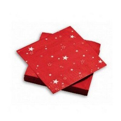 50 serviettes en papier nuit étoilée rouge 40 cm