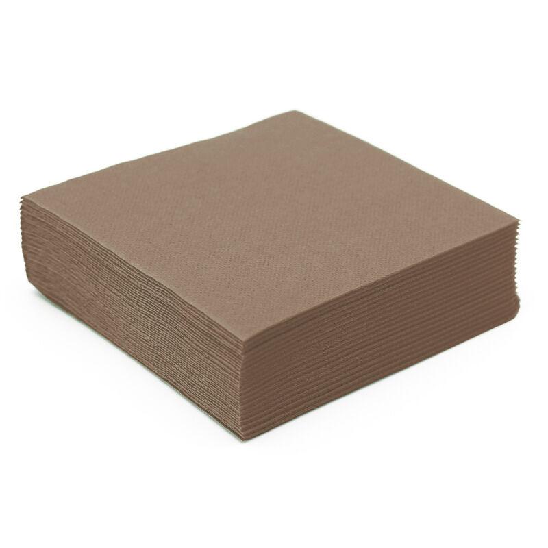 50 serviettes papier microgaufré double épaisseur taupe / argile 38 cm