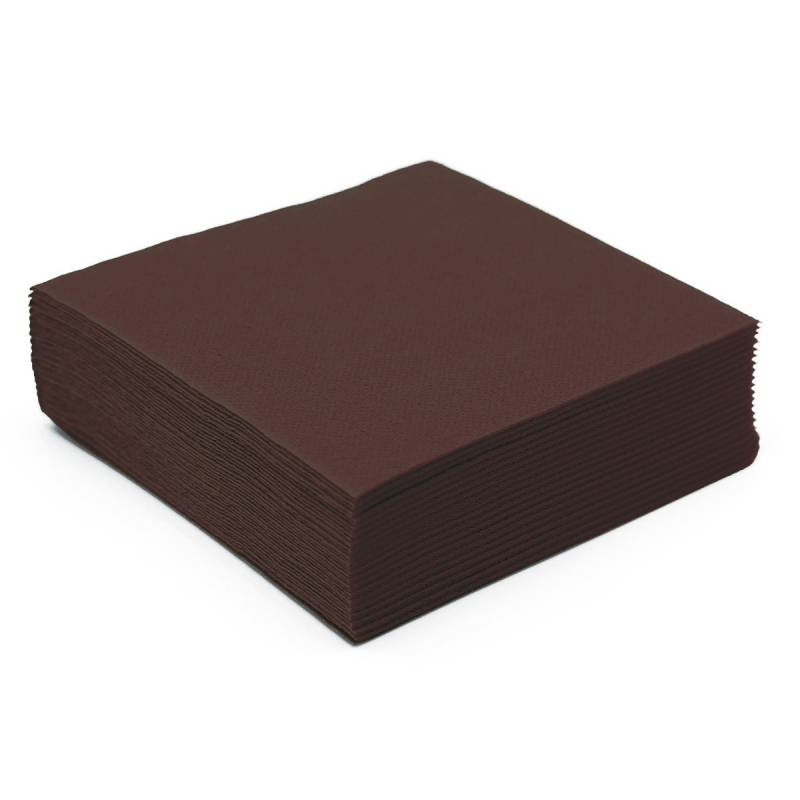 50 serviettes papier microgaufré double épaisseur marron 38 cm