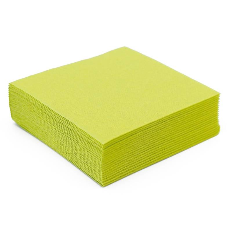 50 serviettes papier microgaufré double épaisseur vert amande 38 cm