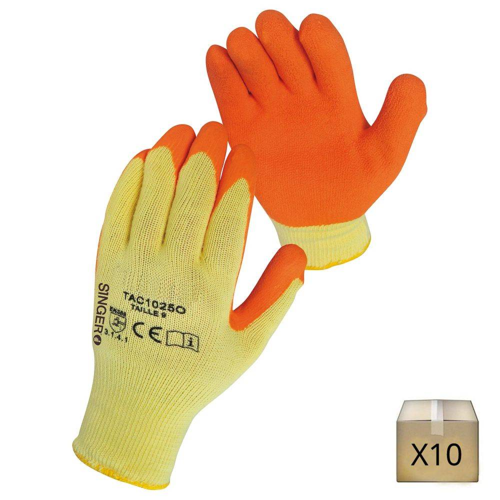 Singer Safety x10 Gants de protection enduit latex Singer Safety