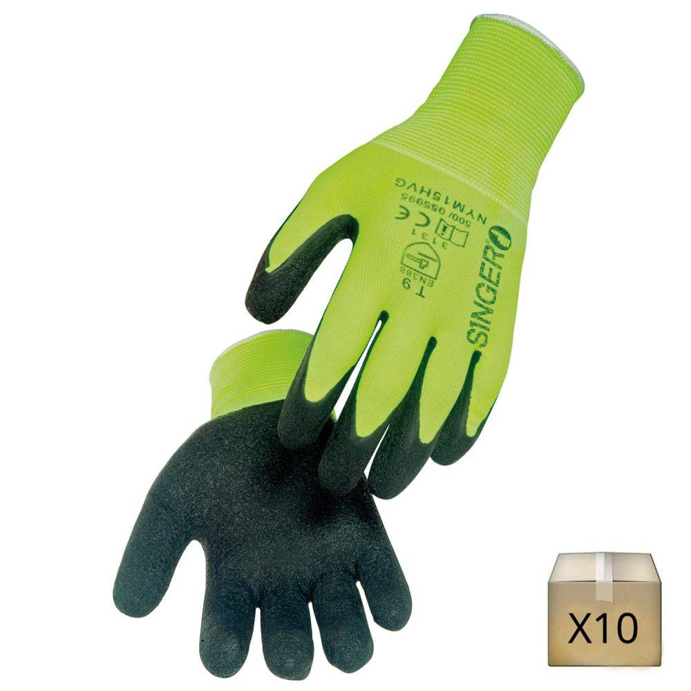 Singer Safety x10 Gants de travail jauge 15 enduction latex Singer Safety