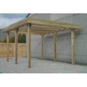 Carport en bois Solid grande hauteur 25,5m²