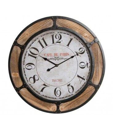 Wadiga Horloge Murale Ronde Métal et Bois Café de Paris - Diamètre 60cm