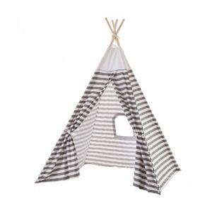Wadiga Tente de Jeu pour Enfant Tipi Gris et Blanc Rayures - Publicité