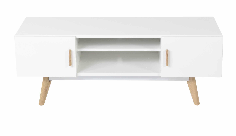 "Zago ""Meuble TV blanc 2 portes 1 niche pieds chêne scandinave Flamy - ZAGO"""