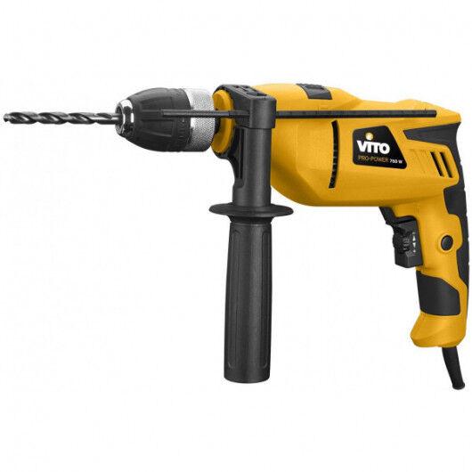 VITO Pro-Power Perceuse à percussion 750W VITO mandrin 13mm auto serrant -poignée SOFT GRIP régulateur de vitesse