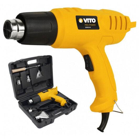 VITO Pro-Power Décapeur thermique VITO 2000W Pistolet air chaud mallette 5 accessoires - 2 temperatures de débit d'air