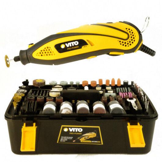 VITO Pro-Power Mini Outils micro précision VITO multi-fonctions 135W polyvalent 218 accessoires+ rallonge souple de 1 m -6 vitesses de travail