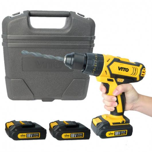 VITO Pro-Power Perceuse Visseuse sans fil 18V VitoPropower + 3 BATTERIES LITHIUM 2.0 Ah Mallette 18 accessoires