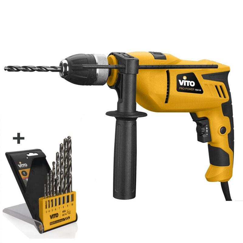 VITO Pro-Power Perceuse à percussion 750W VITO + Coffret 8 forets acier Mandrin 13mm auto serrant -poignée SOFT GRIP régulateur de vitesse