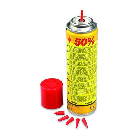 Providus Recharge gaz butane 135g REF 10051 pour chalumeau cuisine et briquets livrée avec 6 adaptateurs de recharge