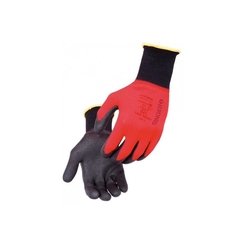 Singer Gant Manutention légère SINGER PVC Polyamide Tricoté Ultra fins Rouge Taille 9 Poignet élastique
