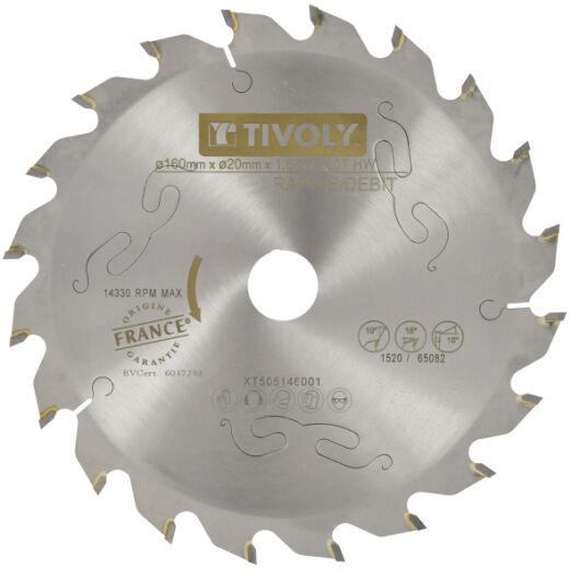 Tivoly Lame Scie Circulaire à Bois Ø160mm TIVOLY 20 dents alesage Ø20mm bague Ø16mm Acier Carbure Coupe ultra rapide bois