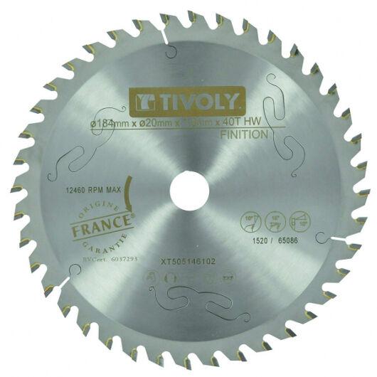 Tivoly Lame Scie Circulaire à Bois Ø184mm TIVOLY 40 dents alesage Ø20mm bague Ø16 Acier Carbure Coupe super précise bois