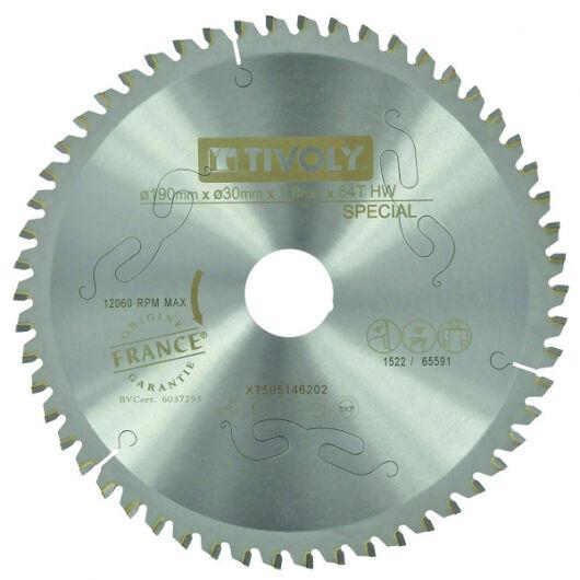 Tivoly Lame Scie Circulaire TIVOLY Ø190mm 54 dents alesage Ø20mm bague Ø16 Acier Carbure Métaux non Ferreux et Plastiques