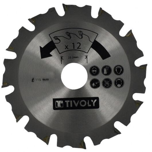 Tivoly Lame de Scie à Bois TIVOLY Ø115mm 12 dents alesage Ø22,22mm Acier Carbure Spécial Meuleuse pour tout type de bois