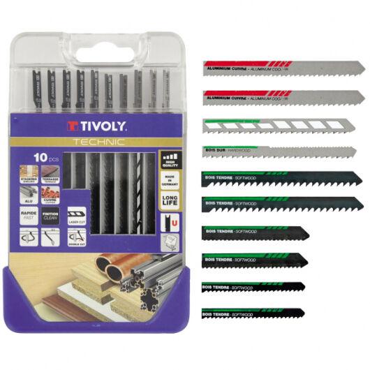 Tivoly Coffret de 10 lames de scie Sauteuse TIVOLY Bois durs, mélaminés, métal, plastiques Attache Back&Decker; type U