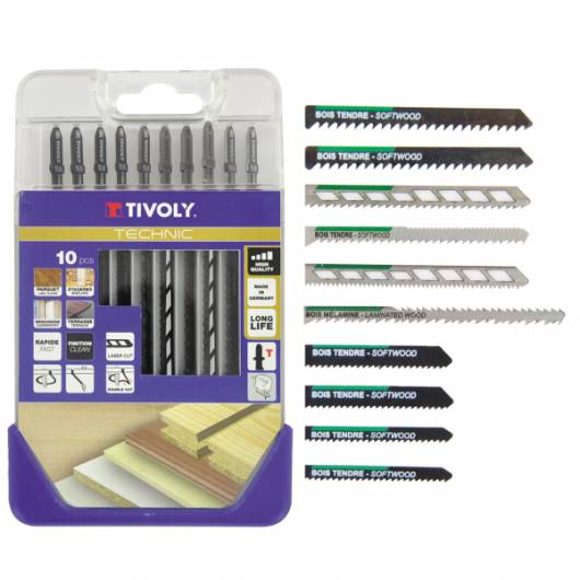 Tivoly Lames de scie Sauteuse X 10 TIVOLY Bois durs, tendres et Mélaminés Attache standard type T Coffret de 10 pièces