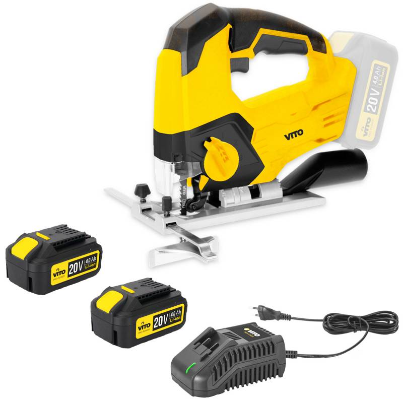 VITO Pro-Power Scie sauteuse sans fil 20V VITOPOWER + 2 batteries 4.0 Ah + Chargeur rapide