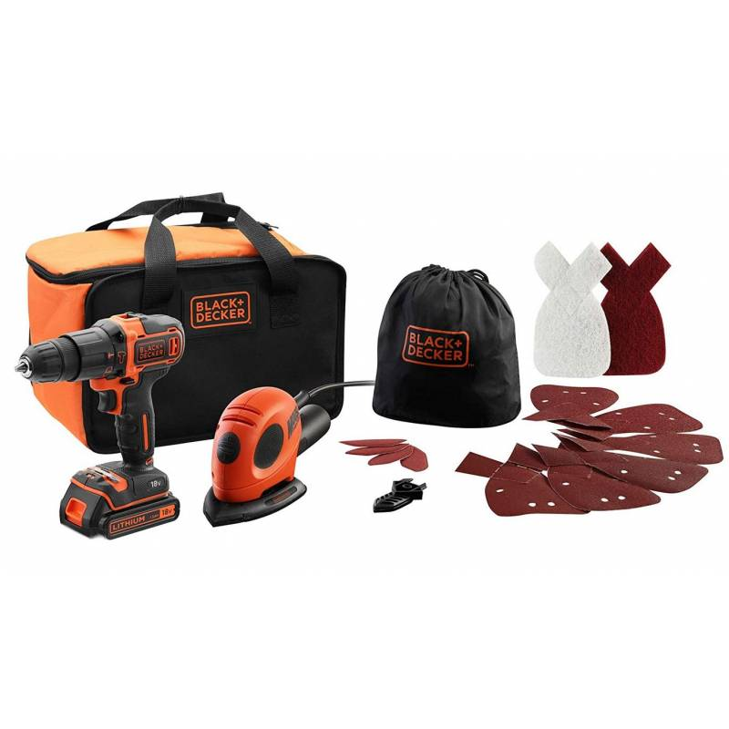 Black & Decker Pack 2 Outils Black & Decker Perceuse à percussion 18V + Ponceuse Mouse + Abrasifs+ Sac de transport BDK200AS1S