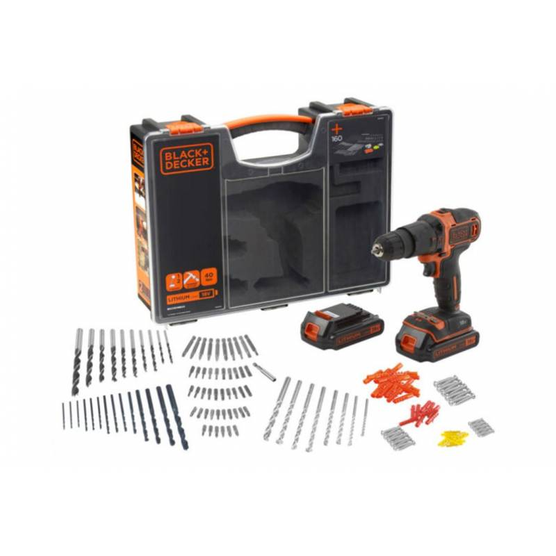 Black & Decker Perceuse à percussion sans fil 18V 2 batteries Li-Ion 1.5 Ah + 160 accessoires Black+Decker BDCHD18BOA