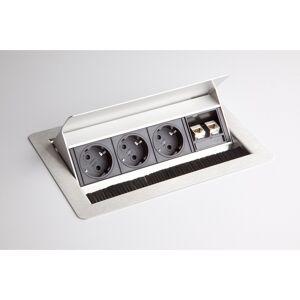 hjh OFFICE PRO ELDATA 1   Bloc multiprises (montage incl.)   3 x prises de courant   2 x RJ45 - Argent - Publicité