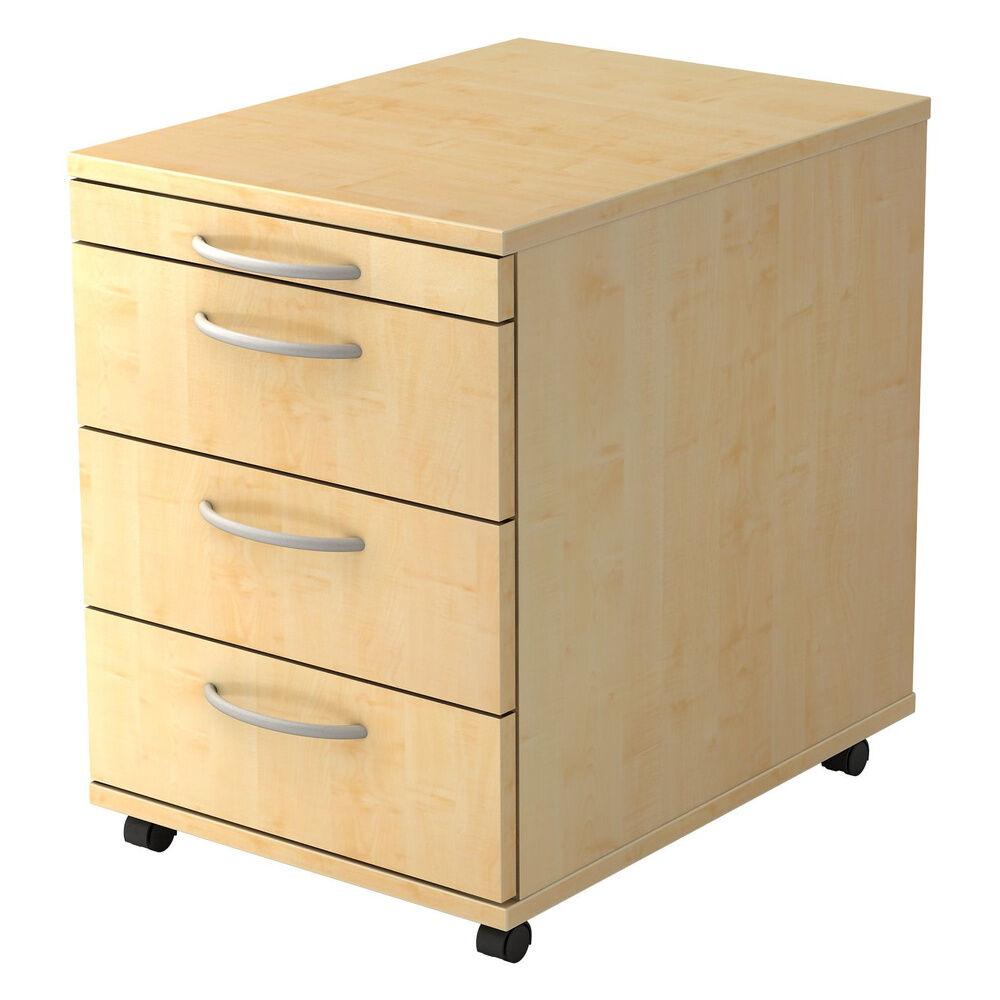 hjh OFFICE PRO BARI 1606 BO - Caisson bureau sur roulettes Érable avec 3 tiroirs poignée arche plastique
