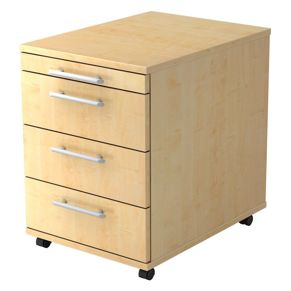 hjh OFFICE PRO BARI 1606 RE - Caisson bureau sur roulettes Érable avec 3 tiroirs poignée de bastingage plastique