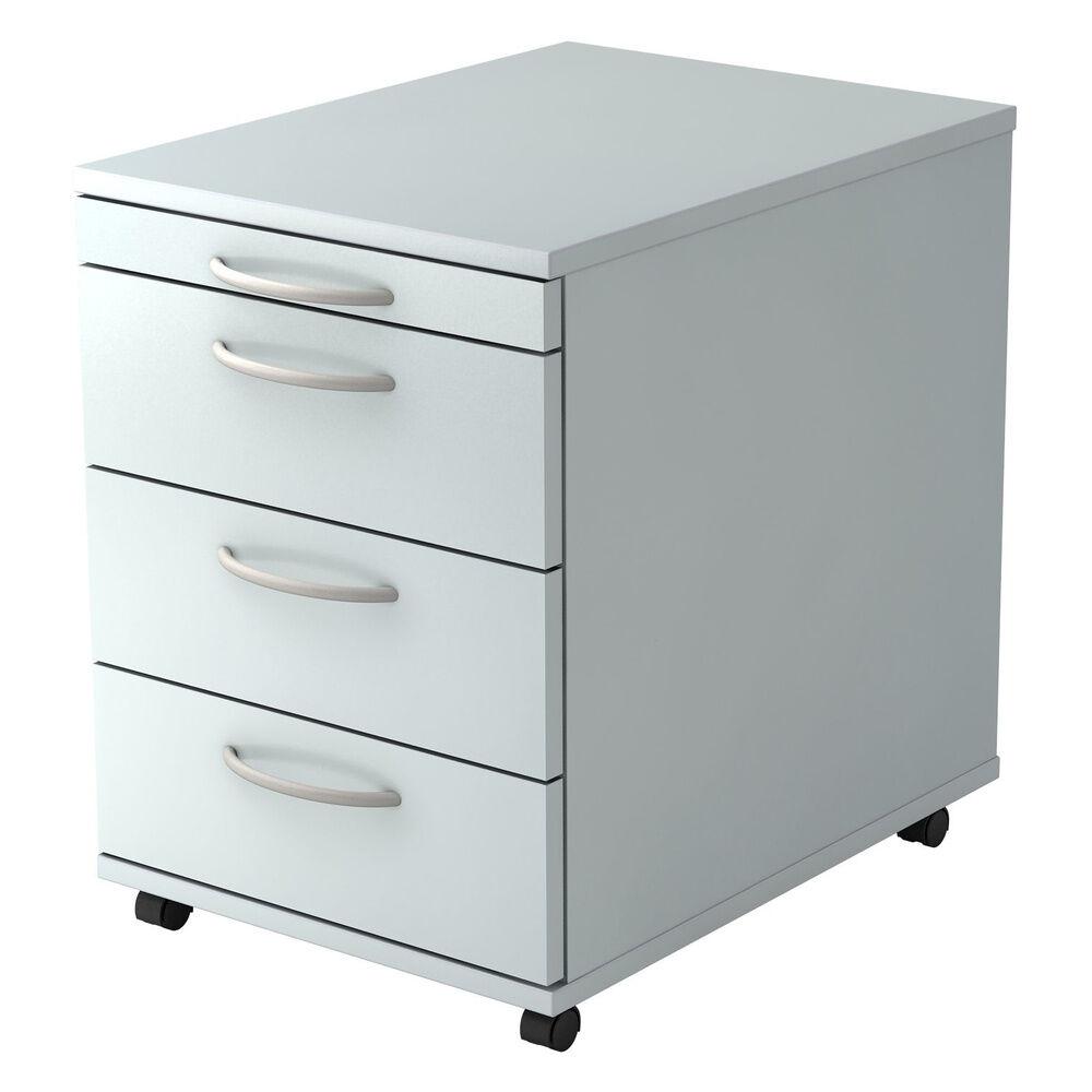 hjh OFFICE PRO BARI 1606 BO - Caisson bureau sur roulettes Gris avec 3 tiroirs poignée arche plastique