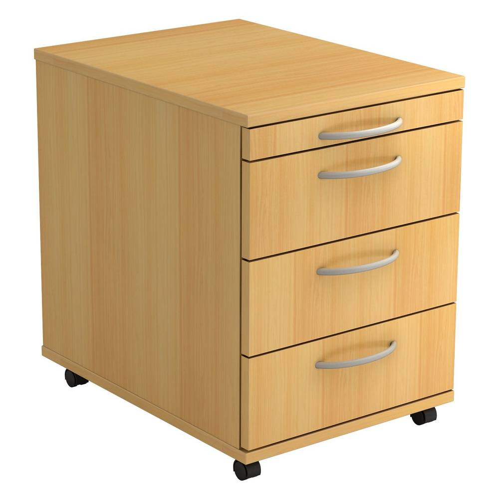 hjh OFFICE PRO BARI 1606 BO - Caisson bureau sur roulettes Hêtre avec 3 tiroirs poignée arche plastique