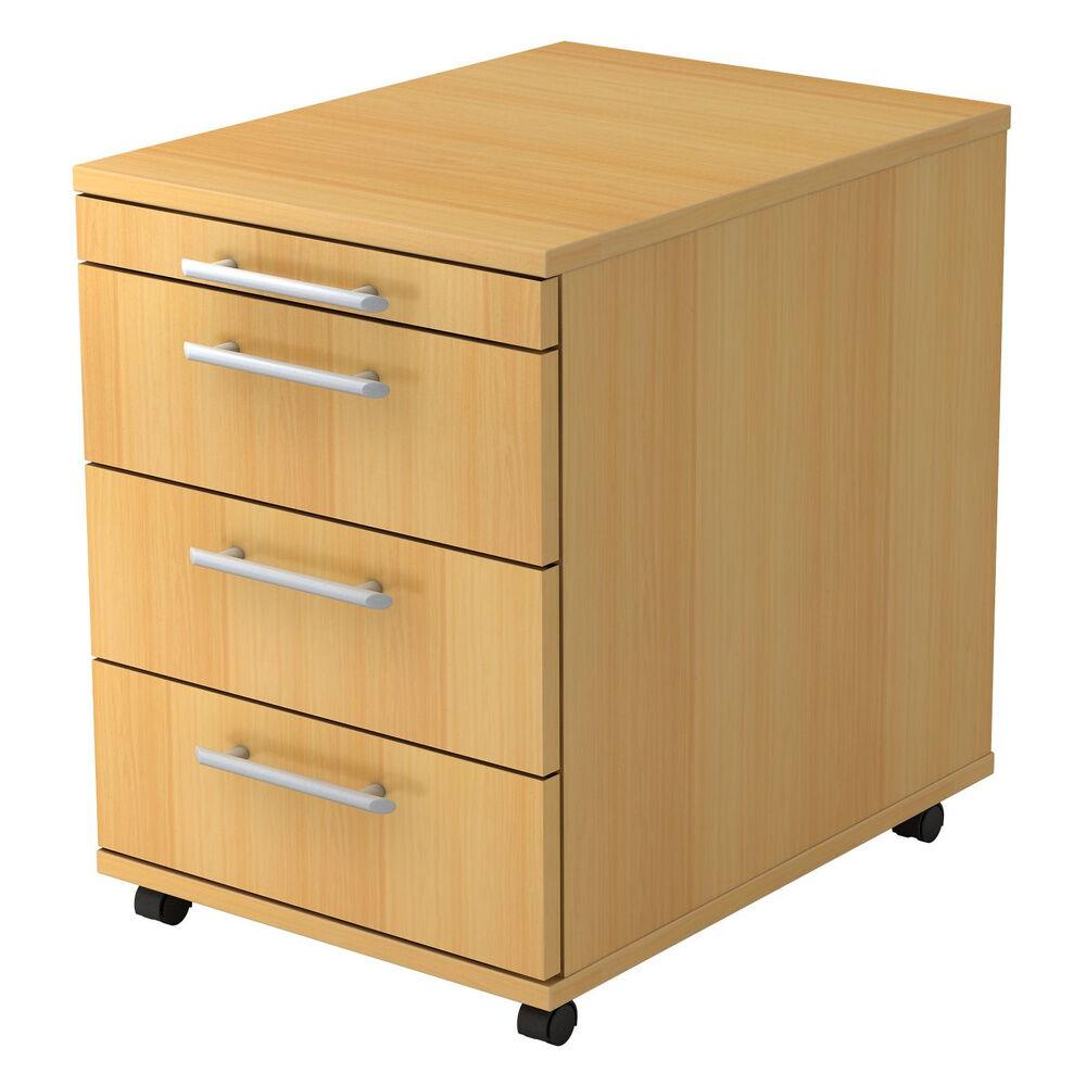 hjh OFFICE PRO BARI 1606 RE - Caisson bureau sur roulettes Hêtre avec 3 tiroirs poignée de bastingage plastique