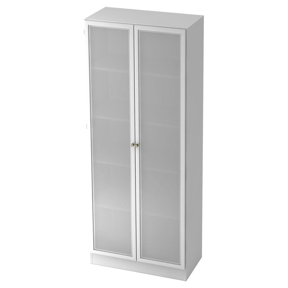 hjh OFFICE PRO SIGNA K 6100G SG - avec bouton Armoire avec portes en verre dépoli blanc/argent