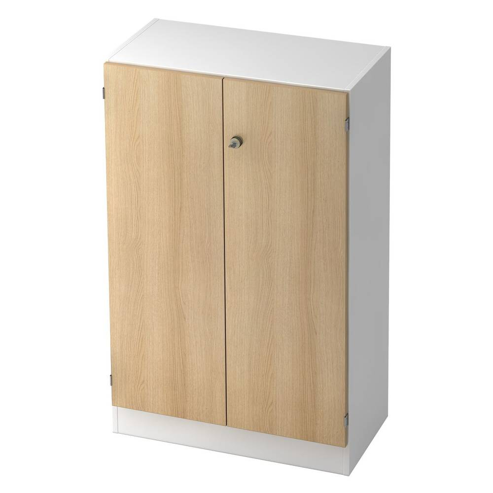 hjh OFFICE PRO SIGNA K 6550 SG - avec bouton (verrouillable) Blanc/Chêne Armoire