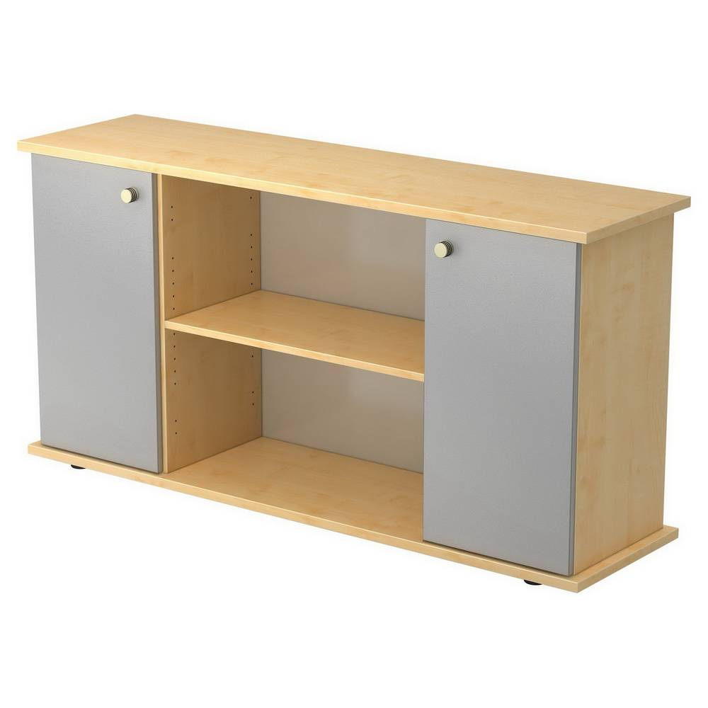 hjh OFFICE PRO KAPA SB   Sideboard   avec portes - Érable/Argent avec bouton Buffet