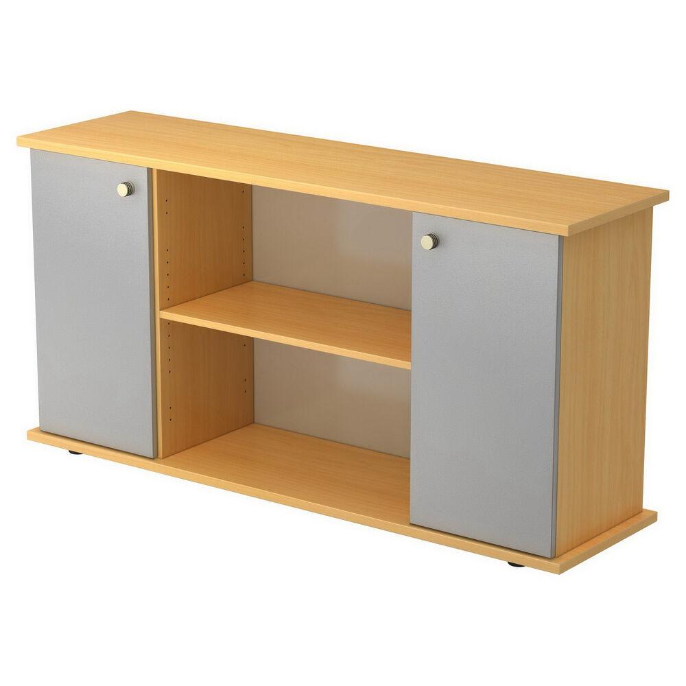 hjh OFFICE PRO KAPA SB   Sideboard   avec portes - Hêtre/Argent avec bouton Buffet